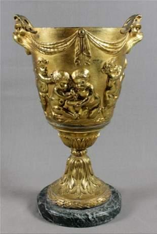Dore Bronze Urn On Marble Base