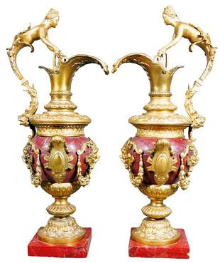 Pair Of Rouge Marble And Gilded Bronze Urns