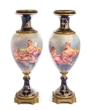 """Pair Of 24"""" Gilt Bronze Mounted Sevres Style Porcelain"""