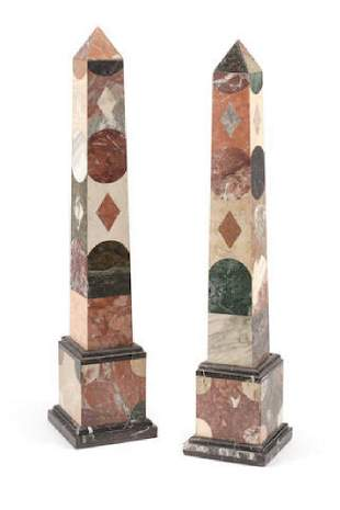 A Pair Of Grand Tour Style Specimen Marble Obelisks