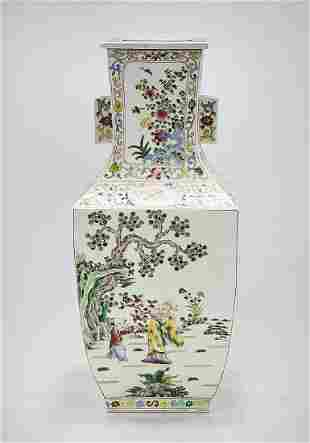 Chinese Enameled Porcelain Four-Faceted Vase