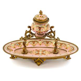 French Dore Pink Jeweled Enamel Bronze Pen Rest Inkwell