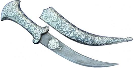 "11"" Persian Jambiya Dagger Khanjar Knife Silver Inlay D"