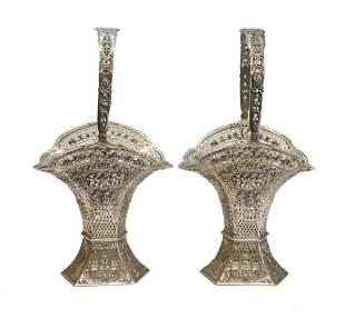 Pair German 800 Silver Decorative Pierced Baskets