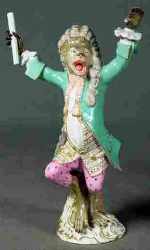 Antique Meissen Dresden Porcelain Monkey Conductor