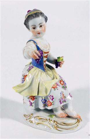 Meissen Porcelain Figure Of Girl With Grapes