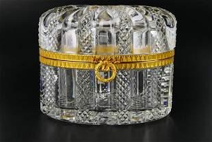 Heavy Cut Crystal Dore Bronze Mounted Lidded Box