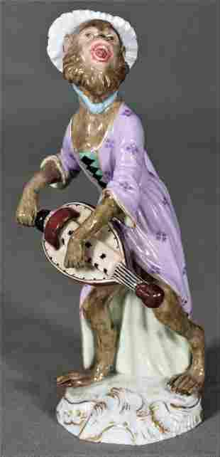 Antique Meissen Dresden Porcelain Monkey Hurdy-Gurdy