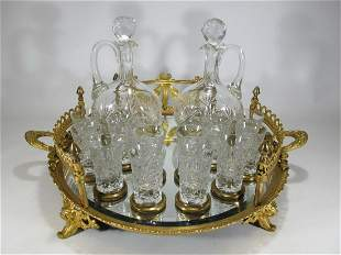 19Th C French Gilt Bronze & Italian Crystal Liquor Set