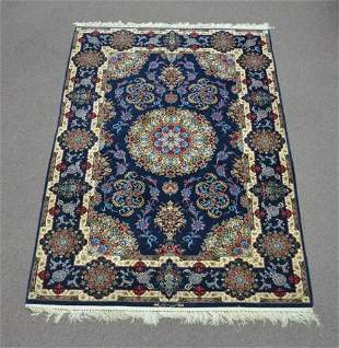 Signed Isfahan Authentic Persian Hand Knotted Wool Silk