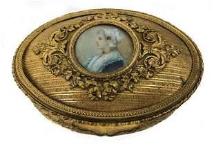 Antique French Bronze Vanity Casket Box Enamel