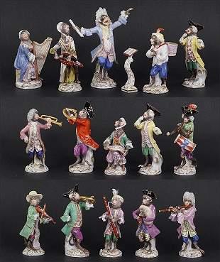 A 20Th Century Meissen Porcelain Monkey Band.