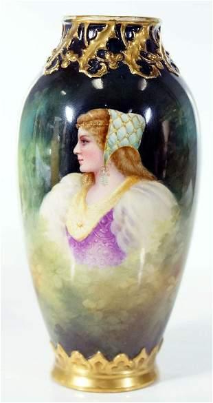 "German ""Royal Bonn"" Painted Vase Depicting Woman With"