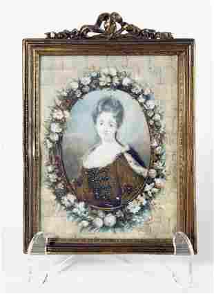 Louis Xv Style Portrait Of Maiden In Glt Bronze Frame