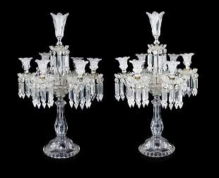 A Pair Of Baccarat Molded Glass Candelabra