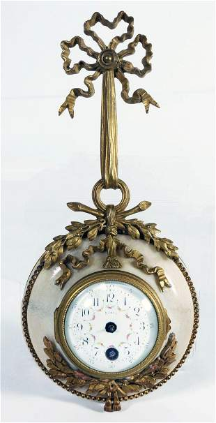 French Miniature Bronze And Marble Cartel Clock