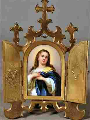 Arched Porcelain Plaque Depicting Christ Figure In