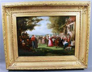 Schilling Oil On Canvas Figures In A Landscape