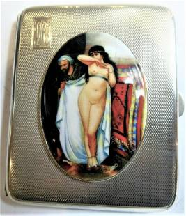 Antique British Erotic 1932s Nude Lady & Arab Man Sterl