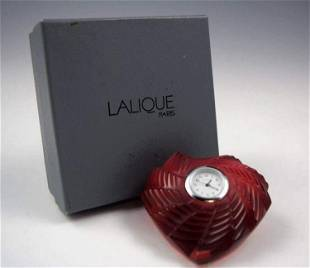 Lalique Ruby Red Crystal Heart, St. Valentine Desk Cloc