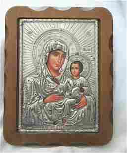 Silver Foil Religious Icon Holy Mother & Child-Mounted