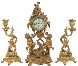 Three-Piece Figural Clock Garniture