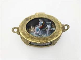 Signed Antique Enamel Box Romantic Scene; exquisite