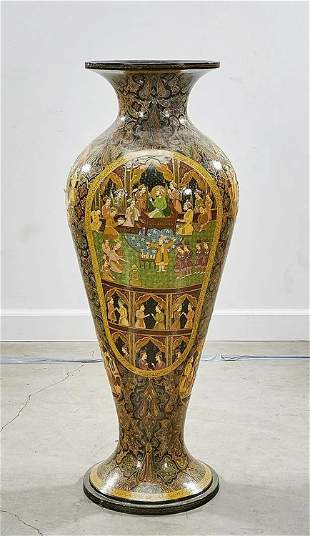 Tall Lacquered and Painted Wood Vase