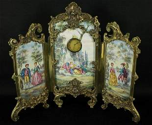 Large Austrian Viennese Vienna Enamel Screen With Clock