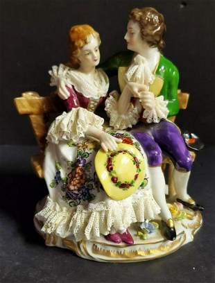 Vintage Dresden Porcelain Lovers Seated On Bench