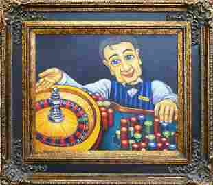 Whimsical Oil/ Canvas Of The Roulette Dealer
