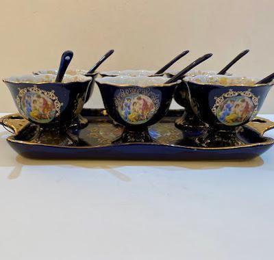 13 Pc Cobalt Blue Porcelain Ice Cream Set
