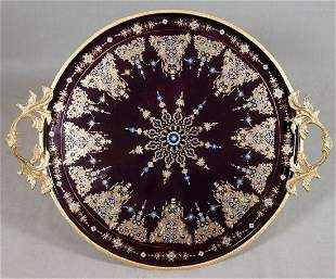 Porcelain Bronze Mounted Tray