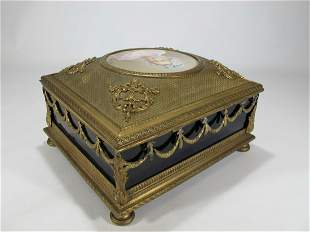 Antique French Bronze With A Painting Jewelry Box