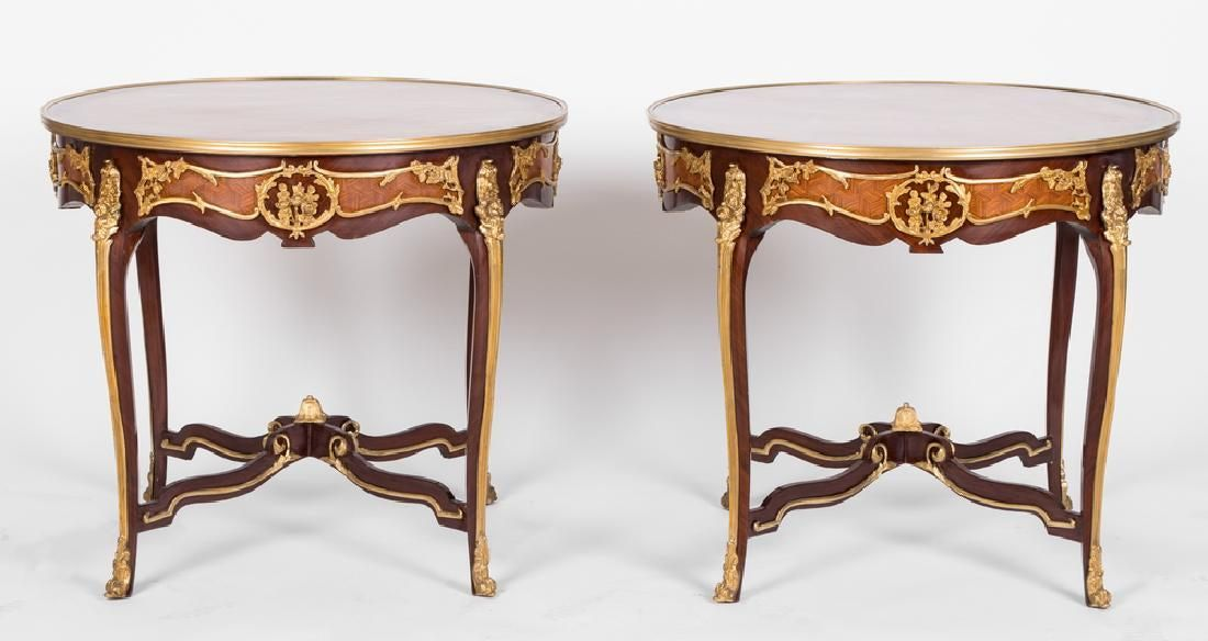Pair Of Louis Xv Style Gilt Mounted Gueridons