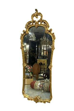 Louis Xv Style Carved Gold Leaf Mirror