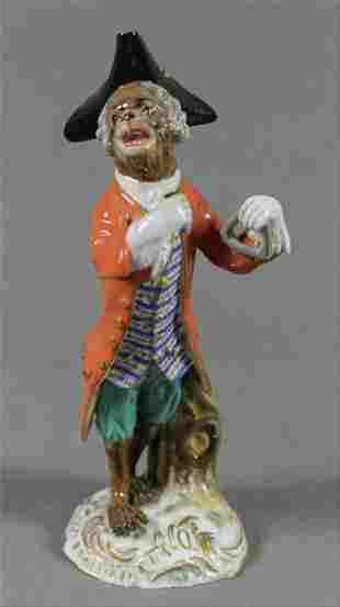 19Th C. Meissen Monkey Band Figure Of Triangle Player