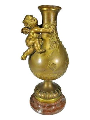 Auguste Moreau (1834-1917) Gilt Bronze Vase