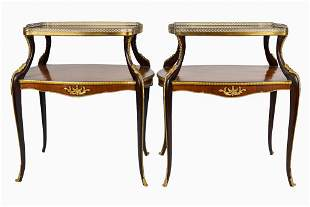Pair Of French Style Two-Tier Tea Tables
