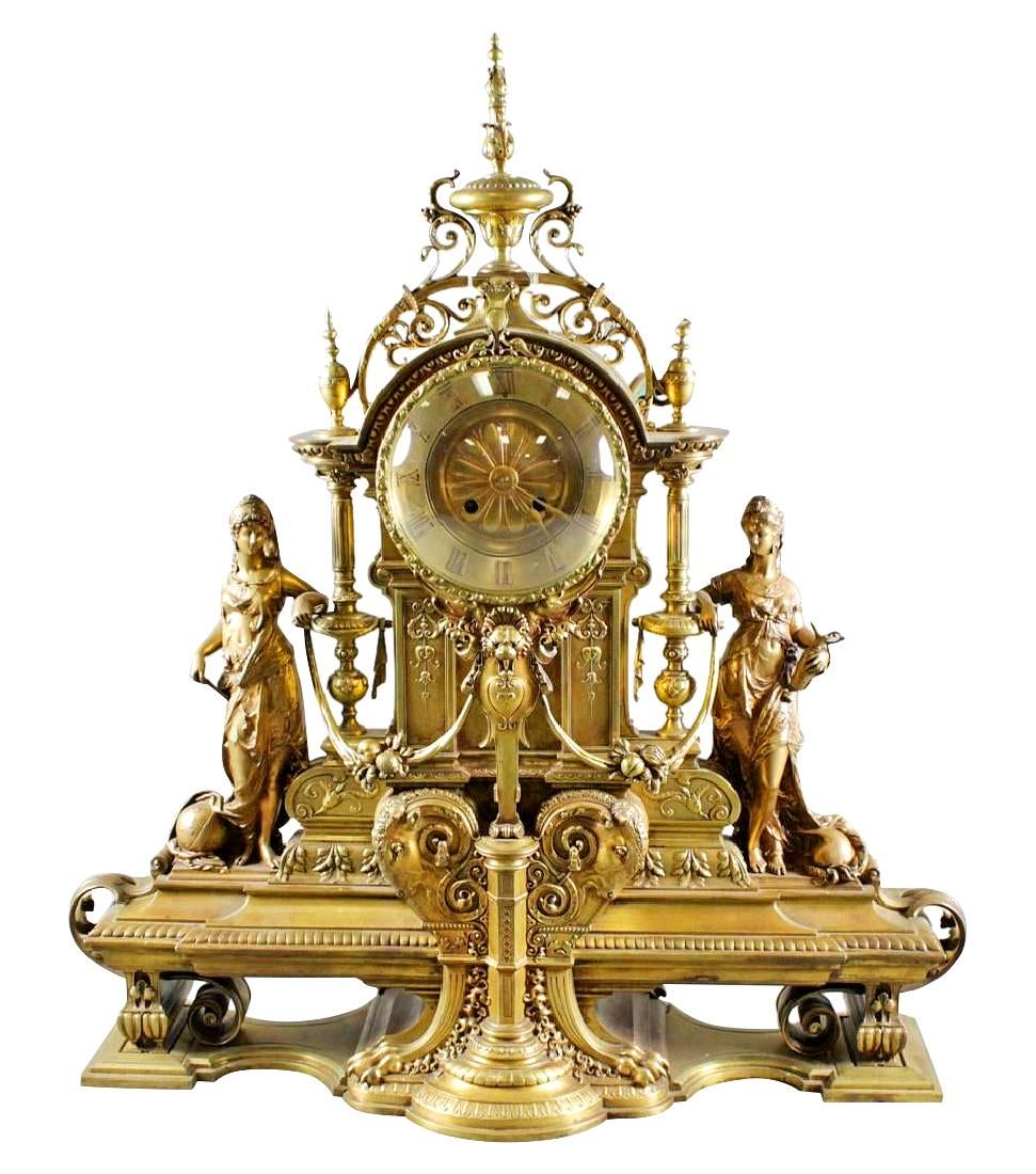 19Th C. French Bronze Figural Mantle Clock
