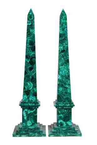 Pair Of Malachite Decorated Obelisks
