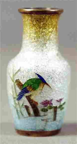 Miniature Chinese Enamel Vase With Bird