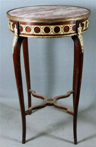 Marble Top And Bronze Round Wooden Table