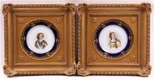 Two Sevres Type Porcelain Plates, Framed