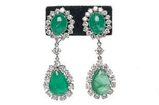 Pair Of 14 Karat White Gold, Emerald, & Diamond