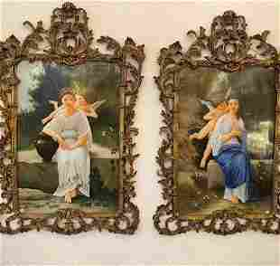 Large Pair Of Hand Painted Porcelain Plaques In Bronze