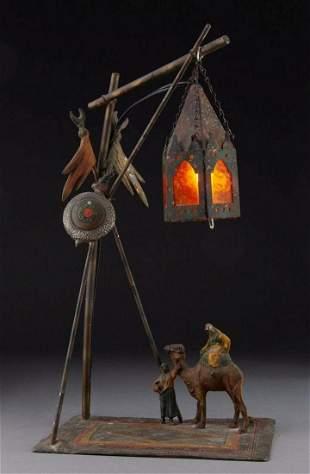 Franz Bergmann Cold-Painted Bronze Figural Lamp