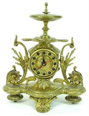 A French Style Gilt Bronze Desk Clock