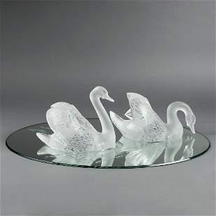 Lalique Crystal Miroir Cygnes Swan Centerpiece