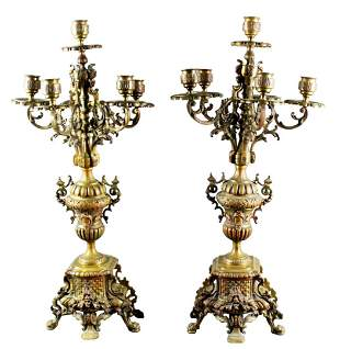 Pair Of 19Th C. Bronze Candelabras